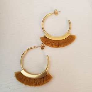 Madewell Fringe Hoop Earrings Cumin NWOT